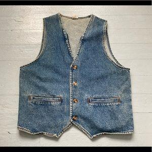 Unisex vintage denim faded vest size medium